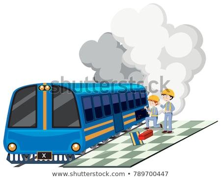 Two machanics repairing train engine Stock photo © bluering