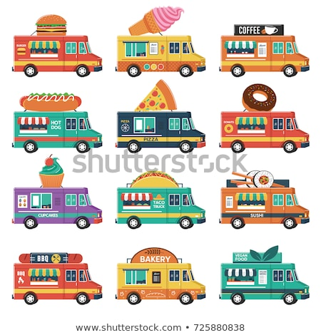 Car food truck set. Fast food car collection. taco and hot dog.  Stock photo © MaryValery