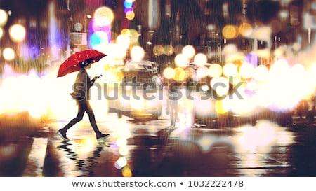 Woman enjoying rainy night Stock photo © Anna_Om