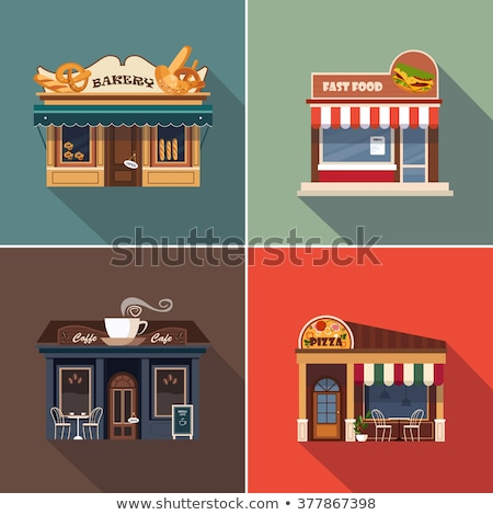 Street fast food cafe elements set in flat style Stock photo © studioworkstock