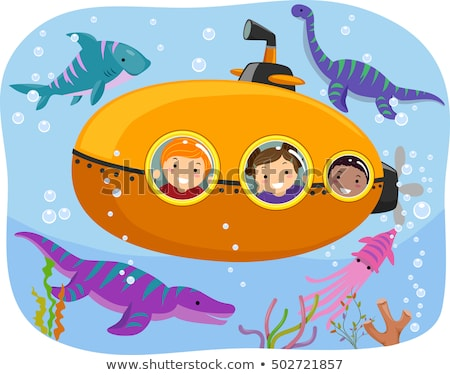 Gyerekek dinoszaurusz tengeralattjáró illusztráció néz tengeri Stock fotó © lenm
