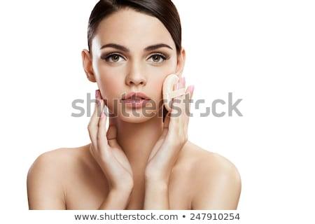 Kız yüz toz kadın el Stok fotoğraf © IS2