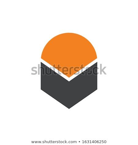 Abstract up element. geometric hexagonal object logo template. cube box shape icon symbol design for stock photo © taufik_al_amin