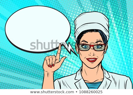 doktor · kadın · karikatür · pop · art · Retro - stok fotoğraf © studiostoks