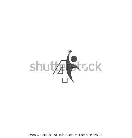 number four 4 business people silhouette alphabet stock photo © studiostoks