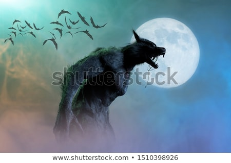 оборотень · свет · луна · искусства · животного · тень - Сток-фото © krisdog