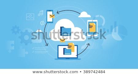 Bulut depolama afiş adam çalışma bilgisayar Stok fotoğraf © Genestro