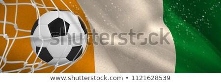 Soccer ball in goal net against ivory coast national flag Stock photo © wavebreak_media