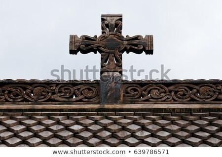 Igreja Noruega conservado madeira edifícios maravilhoso Foto stock © Kotenko