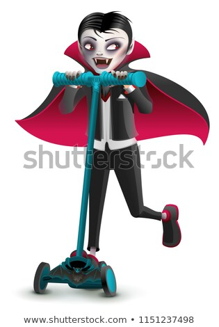Cartoon vampire monster on scooter. Masquerade Halloween Costume Stock photo © orensila