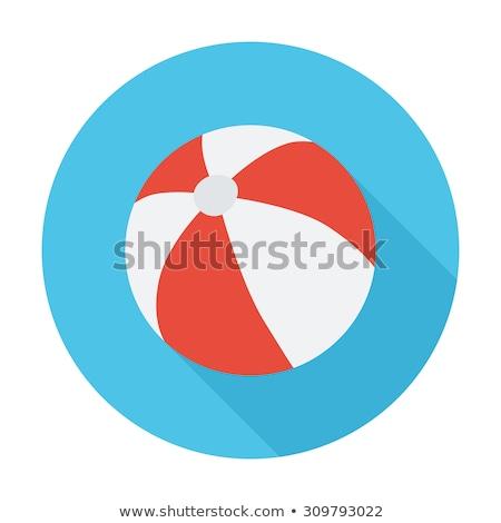 Strandlabda ikon vektor izolált fehér szerkeszthető Stock fotó © smoki