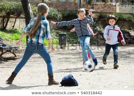 gyermek · labdarúgó · játszik · futball · eps10 · vektor - stock fotó © bluering