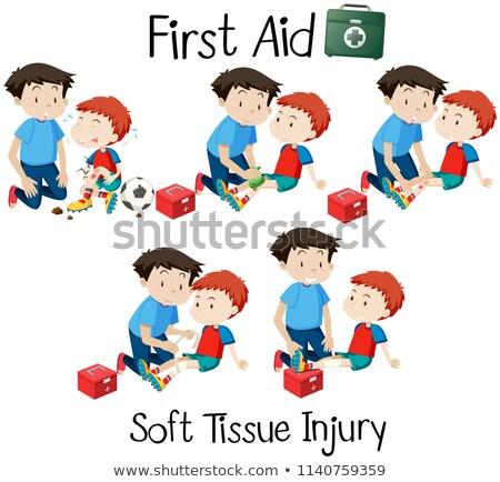 Pierwsza pomoc miękkie tkanka szkoda ilustracja piłka nożna Zdjęcia stock © bluering
