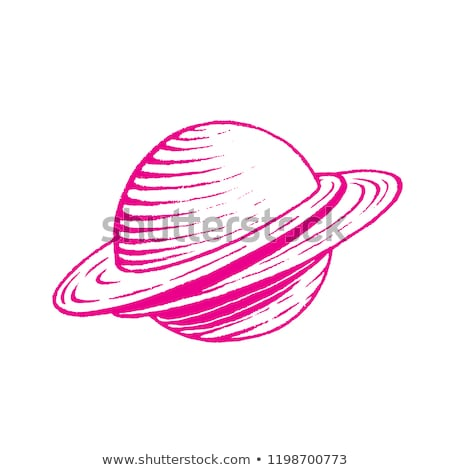 magenta vectorized ink sketch of planet illustration stock photo © cidepix