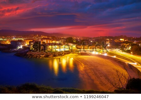 llanes playa del sablon beach sunset asturias spain stock photo © lunamarina