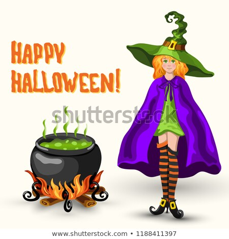witch cauldron with poison and halloween title stock photo © tasipas