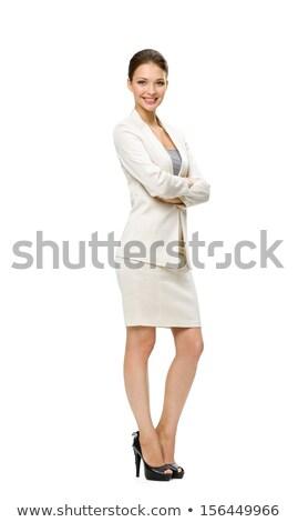 Full length portrait of joyful pretty woman with long brown hair Stock photo © deandrobot