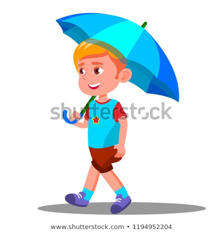 little boy walks with an open blue umbrella in his hand vector isolated illustration stock photo © pikepicture