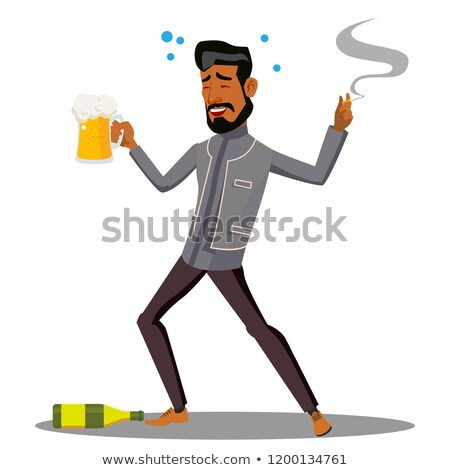 adult drunk man with glass of beer and cigar vector isolated illustration stock photo © pikepicture