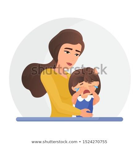 Stock fotó: Anya · megnyugtató · sír · gyermek · vektor · izolált