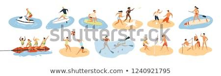 Spelevaren activiteit zomer meisjes paardrijden Stockfoto © robuart
