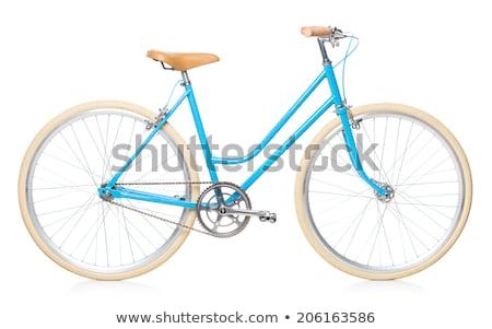 Stylish womens blue bicycle isolated on white Stock photo © vlad_star