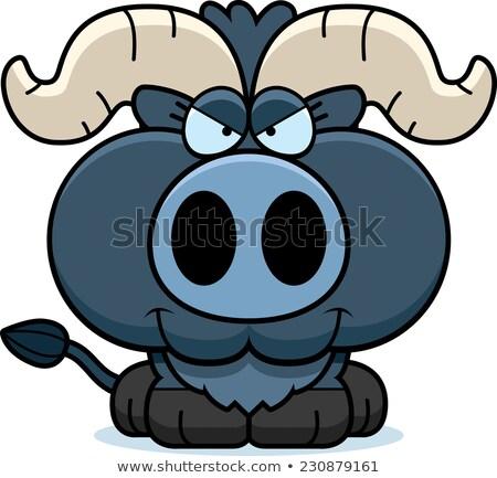 Karikatür sinsi küçük mavi öküz örnek Stok fotoğraf © cthoman