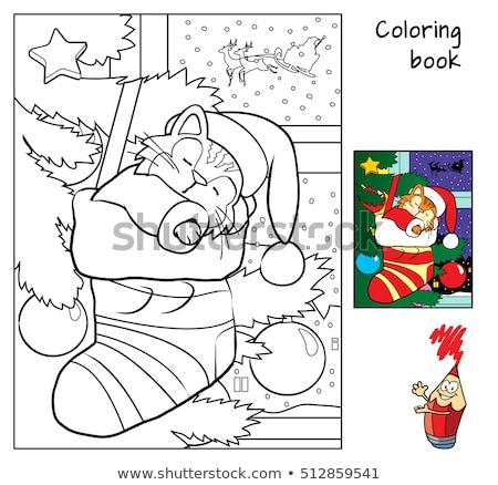 Labirent renk kitap noel baba siyah beyaz karikatür Stok fotoğraf © izakowski