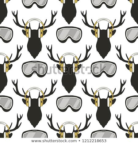 christmas deer pattern funny reideer in headphones and ski snowboard goggles xmas winter seamless stock photo © jeksongraphics