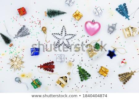 Karácsony csillag izolált dísz szett üveg Stock fotó © kostins