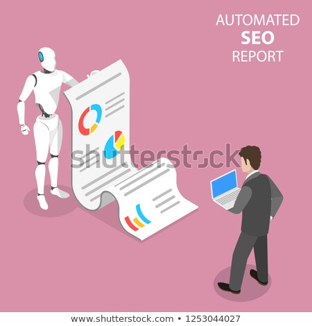 flat isometric vector concept of automated seo report website performance stock photo © tarikvision