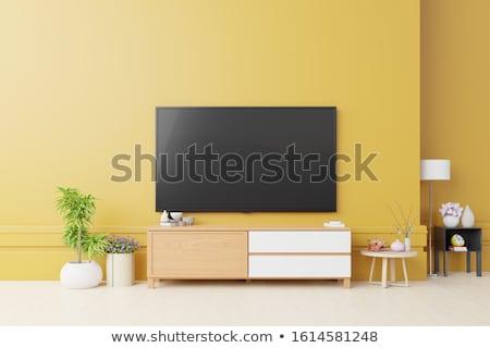 Tv citromsárga faliszekrény lapos képernyő nagy nappali Stock fotó © magraphics