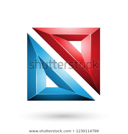 red and blue frame like embossed square shape vector illustratio stock photo © cidepix