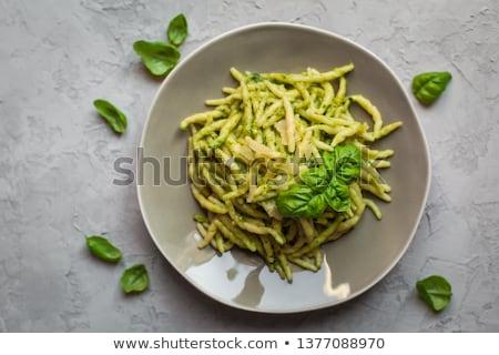 Ev yapımı makarna yeşil pesto fesleğen İtalyan Stok fotoğraf © Melnyk