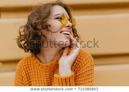 Retrato pensativo mulher escuro cabelos cacheados Foto stock © deandrobot