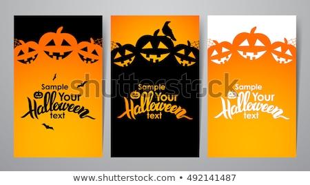 feliz · halloween · cartaz · texto · abóbora · vetor - foto stock © robuart