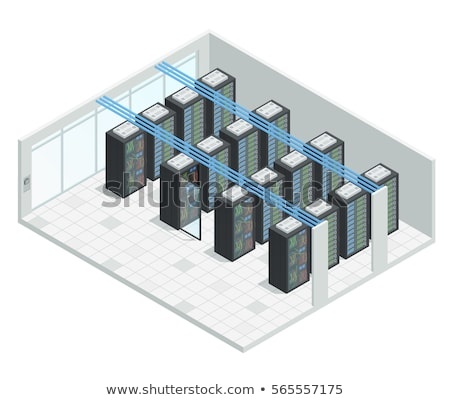 Foto d'archivio: Vettore · isometrica · server · stanza · data · center · aria · condizionata