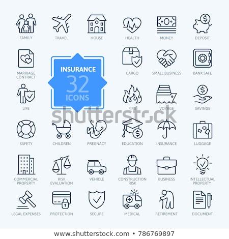 huis · paraplu · lijn · icon · web · mobiele - stockfoto © soleilc