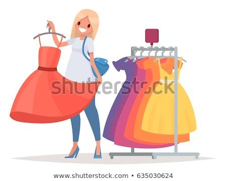 Kobiet suknie wieszak wektora odizolowany cartoon Zdjęcia stock © pikepicture