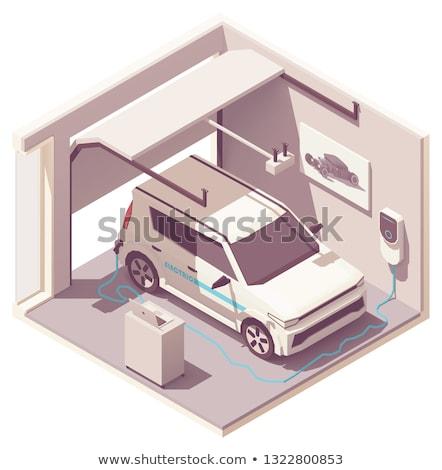 vector isometric garage and electric vehicle stock photo © tele52