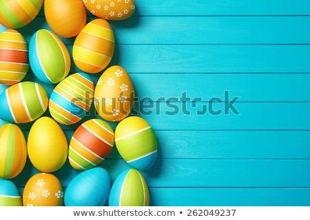 witte · houten · kleurrijk · paaseieren · Pasen · gelukkig - stockfoto © karandaev