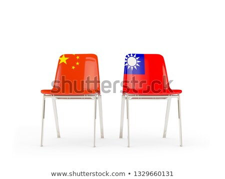 Two chairs with flags of China and taiwan Stock photo © MikhailMishchenko
