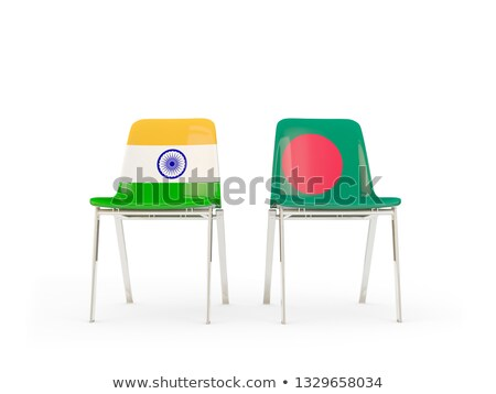 Two chairs with flags of India and bangladesh Stock photo © MikhailMishchenko