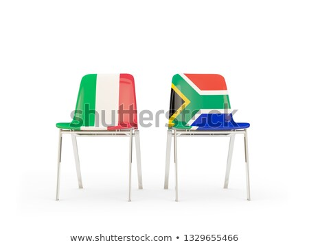 two chairs with flags of italy and south africa stock photo © mikhailmishchenko