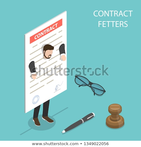 Flat isometric vector concept of contract fetters, business obligations. Stock photo © TarikVision