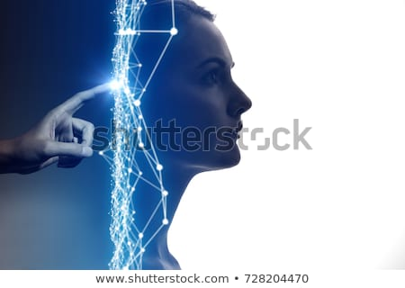 Photo stock: Artificial Intelligence Ai Concept Neural Networks Face Silhouette