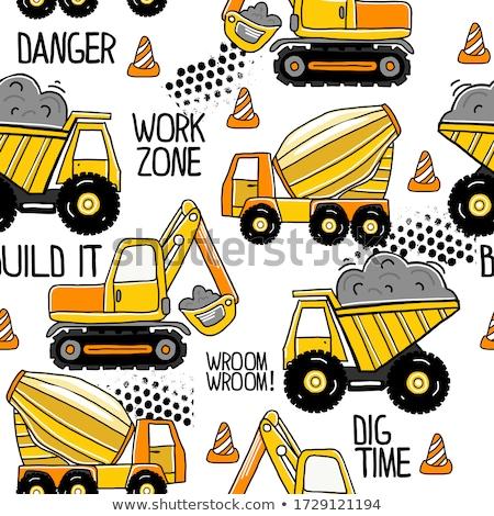 Kid ragazzo bulldozer illustrazione indossare giallo Foto d'archivio © lenm