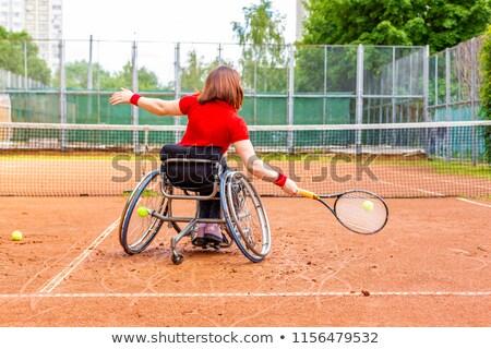 Teniszező tolószék illusztráció gyermek diák háttér Stock fotó © colematt