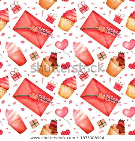 decorative background with gift envelopes of tulips flowers on a stock photo © artjazz