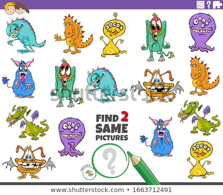 Stok fotoğraf: Find Two Identical Monsters Task For Kids
